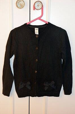 Oshkosh B'gosh Girls Black Cardigan With Pockets And Bows Size 6