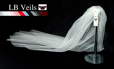 Ivory Cream White Veil Single Tier Chapel Length Plain Wedding Bridal  LBV162 UK