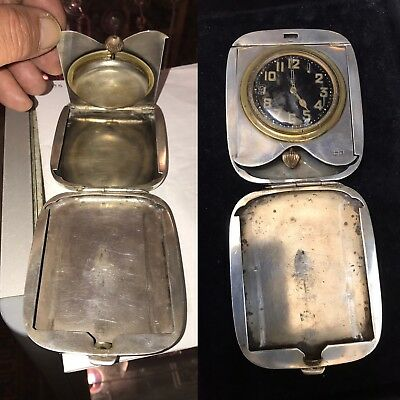 Antique Solid Silver Travel Clock Pocket Watch Case Box London1915 Not Fo Scrap