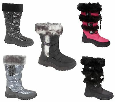 Women And Girls Snow Boots Ladies Winter Warm Fur Lined Flat Shoes
