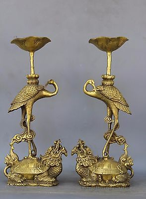 "11"" Chinese Bronze Dragon Turtle Tortoise Crane Candlestick Holder Ruyi Pair"