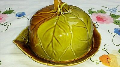 Vintage Royal Winton Leaf Ware Brown & Green cheese or butter dish