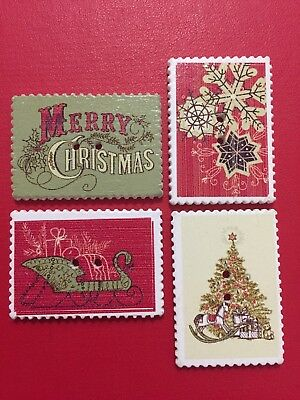 4 x WOODEN BUTTONS Merry Christmas STAMP Look DESIGNS