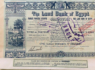 The Land Bank of Egypt  Zertifikat  einer Aktie 1905