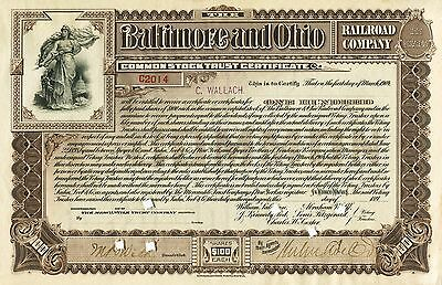 Baltimore and Ohio Railroad Company- Common Stock Certificate- Issued 1899