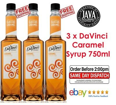 3 x DaVinci Classic Caramel Flavoured Syrup 750ml Bottle Cafe Home Baking