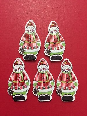 5 x Wooden Buttons CHRISTMAS SNOWMAN Red Jacket DESIGN