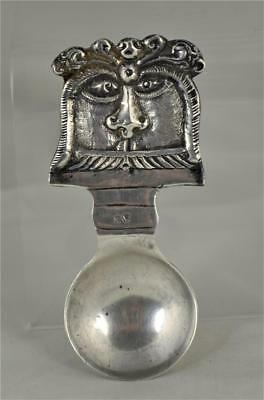 Unusual Vintage Sterling Silver Caddy Spoon With Mask Face   (V3)
