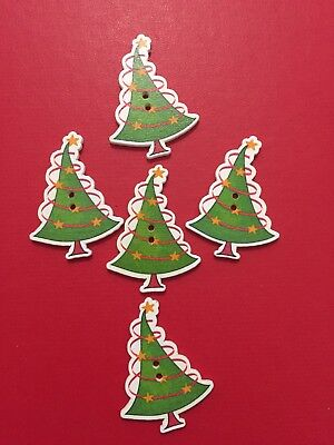 5 x Wooden Buttons STARY CHRISTMAS TREE DESIGN