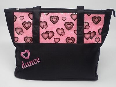 Girls Glittery HEARTS DANCE Bag Tote Black Teen