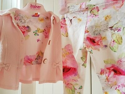 Ted Baker Baby Girls Outfit Floral Set Jacket and Leggings Age 3-6 Peony LOVELY