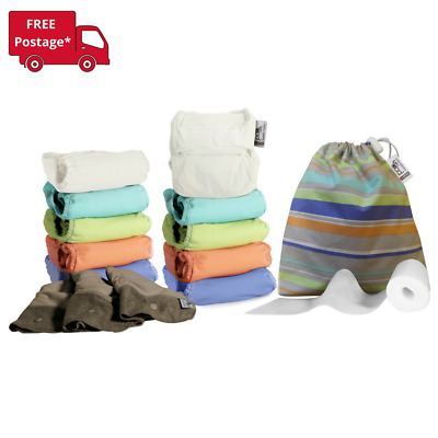 10 Complete Pop-in Nappies with Bamboo Soakers, Liners, Wet Bag (Pastels)