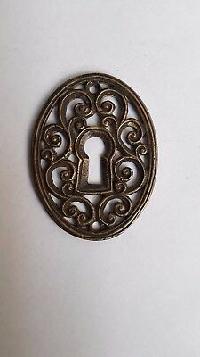 Fancy Keyhole Cover Plate Escutcheon Cast Brass No Door Finger Plate Drawer Knob