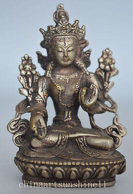 Exquisite Tibet Silver Old Buddhist Figure Statue Collection Ancient Chinese Han