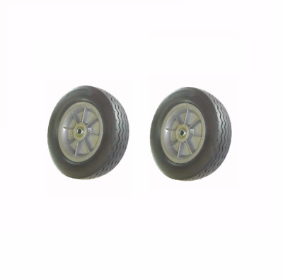 """(Two) Rubber Hand Truck Tire 2-1/4"""" Offset Hub 10 x 2-3/4 - 3/4"""" ID"""
