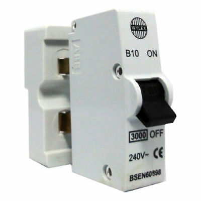 WYLEX B10 10 AMP TYPE B 3kA MINIATURE CIRCUIT BREAKER & CONTACT SHIELD 240 VOLT