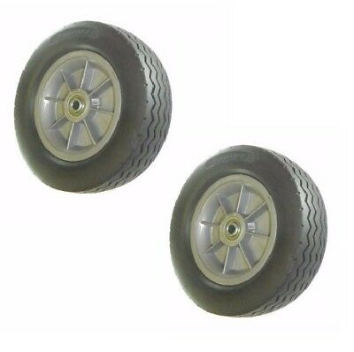 """(2) DuraTek Tire Flat Free 10"""" Soft Rubber Sawtooth with 3/4"""" ID Bearing"""