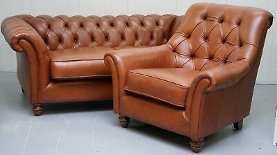 Brand New Thomas Lloyd Rrp £2528 Chesterfield Brown Leather Sofa & Club Armchair