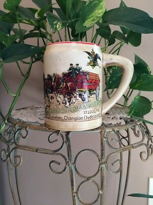 1980 BUDWEISER  BEER MUG STEIN First  HOLIDAY SERIES  CLYDESDALES   CS19  1st