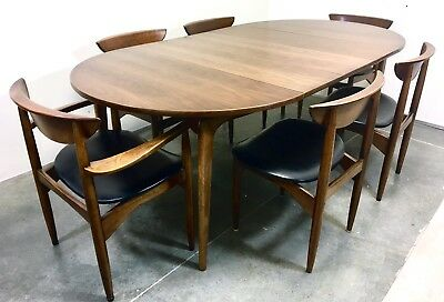 Mid Century Modern Dining Table With 6 Chairs Lane Perception Walnut MCM Vintage