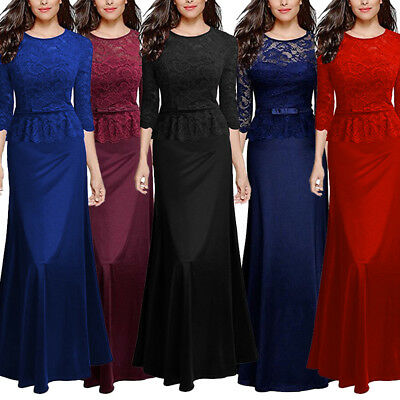 Womens Lace Long Formal Wedding Evening Ball Gown Party Prom Bridesmaid Dress