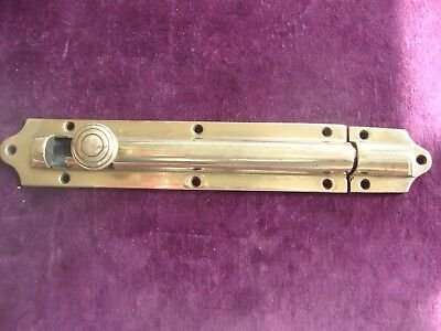 "Fine antique 10"" brass beehive security door bolt and keep"