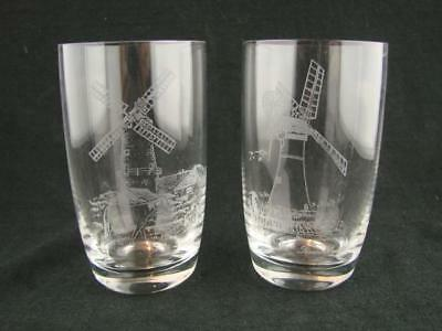 Vintage Pair Of Drinking Glasses / Tumblers With Etched Scenes Of Windmills