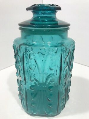 """Vintage Blue Glass Sealed Canister 9"""" Tall"""