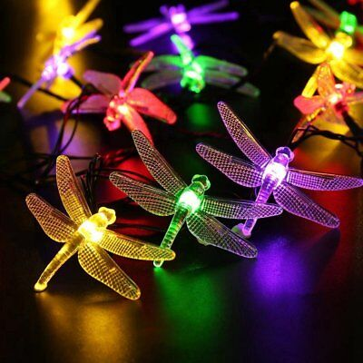 Solar String Lights 20 LED Dragonfly Fairy Lamp Outdoor Garden Parghting Decor