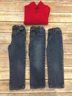 Lot of 3 Boys 4T Adjustable Waist Jeans and Fleece All Children's Place VGUC