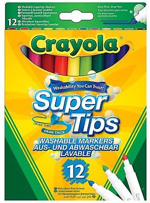 12 crayola supertips washable markers felt tip pens draw thick or thin