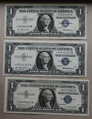 """Lot of 3 US 1 Dollar, Silver Certificate """"Star Notes"""""""