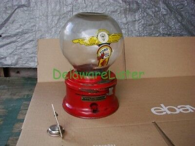 *VINTAGE/Antique Red Ford Co. Glass Globe/Dome Gumball Candy Machine 1930's