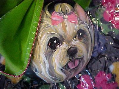 Yorkie Hand Painted Lrge  Christmas Ornament