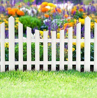3 Piece White Picket Fence Garden Grass Lawn Border Edging Fencing Panels Wall