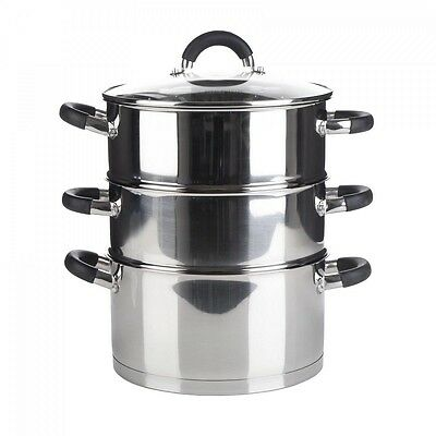 3 Tier Quality Induction Steamer Cooker Pot Set with Glass Lid Veg Food 28cm New