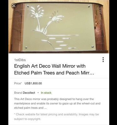 1930s English Art Deco Wall Mirror / Etched Palm Trees *RARE* Antique