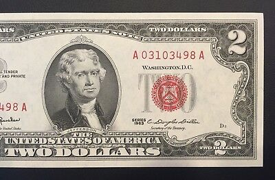 Wow 1963 $2 TWO DOLLAR BILL RED SEAL ,UNCIRCULATED