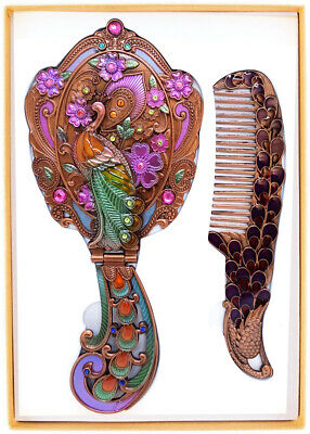 Vintage Vanity Set Peacock Flower Pattern Hand Painted Mirror Comb Brass Make up