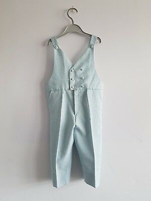 Vintage Eural Tergal Baby's Blue & White Gingham Dungarees Age 18 Months