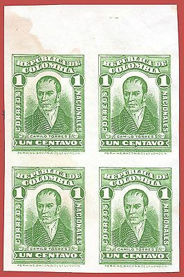 Colombia 1917 Perkins issue Camilo Torres 1 C. green, imperf. block of 4, Mi240