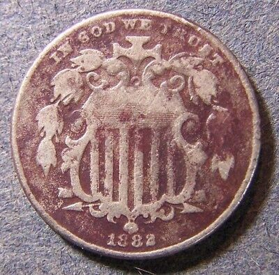 1882 SHIELD NICKEL 5c NO RESERVE