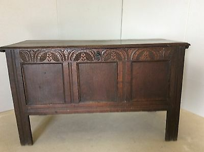 Antique oak mule chest/coffer with carving to front and original lock and key