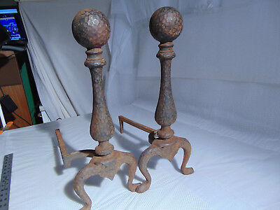 Pair of Vintage/Antique Cast Iron Fireplace/Wood Stove Log Andiron Set