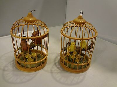 """2 Wood Bird Cages with Cardinals and Finches - 4.5"""" High - Figurine Ornament"""