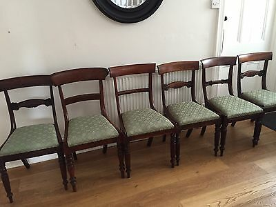 6  Harlequin Upholstered Antique Dining Chairs