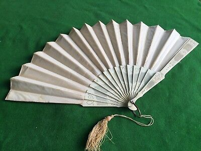 Fine Antique Chinese Filigree Carved Bone Hand Embroidered Silk Fan