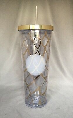 Starbucks Gold Mermaid Scales Acrylic Cold Cup 24 Oz 2017 BPA Free