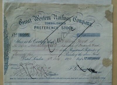 Great Western Railway Co Consolidat Preferred Stock 1870 £75