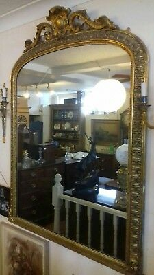 Victorian Overmantle  Large Gilt Mirror